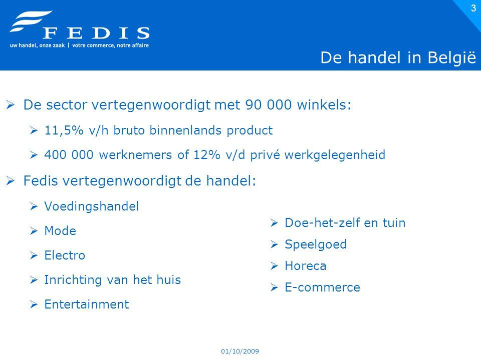 01/10/2009 3 De handel in België  De sector vertegenwoordigt met 90 000 winkels:  11,5% v/h bruto binnenlands product  400 000 werknemers of 12% v/d privé werkgelegenheid  Fedis vertegenwoordigt de handel:  Voedingshandel  Mode  Electro  Inrichting van het huis  Entertainment  Doe-het-zelf en tuin  Speelgoed  Horeca  E-commerce