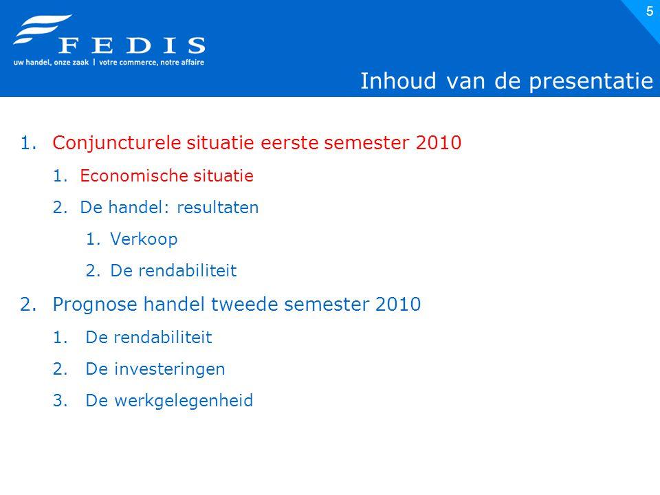 5 Inhoud van de presentatie 1.Conjuncturele situatie eerste semester 2010 1.Economische situatie 2.De handel: resultaten 1.Verkoop 2.De rendabiliteit 2.Prognose handel tweede semester 2010 1.De rendabiliteit 2.