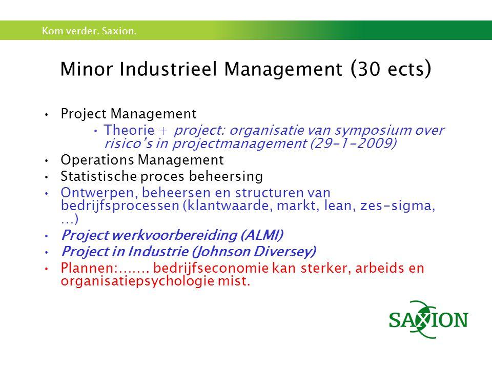 Kom verder. Saxion. Minor Industrieel Management ( 30 ects ) Project Management Theorie + project: organisatie van symposium over risico's in projectm