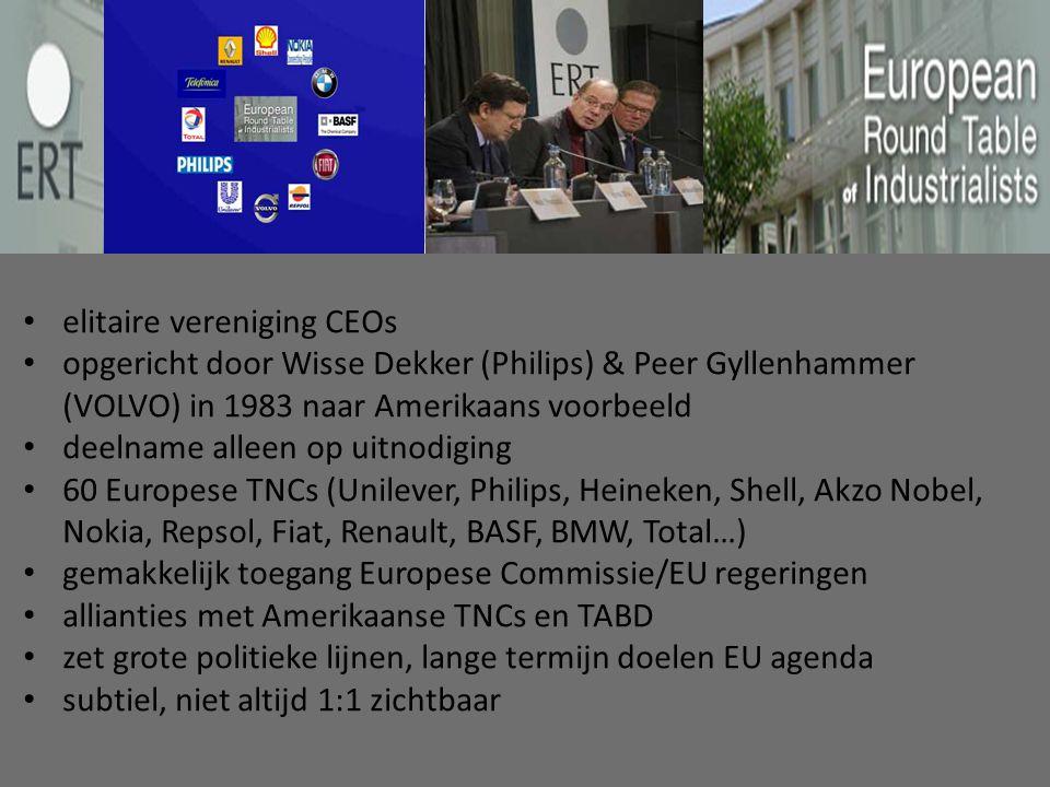 elitaire vereniging CEOs opgericht door Wisse Dekker (Philips) & Peer Gyllenhammer (VOLVO) in 1983 naar Amerikaans voorbeeld deelname alleen op uitnodiging 60 Europese TNCs (Unilever, Philips, Heineken, Shell, Akzo Nobel, Nokia, Repsol, Fiat, Renault, BASF, BMW, Total…) gemakkelijk toegang Europese Commissie/EU regeringen allianties met Amerikaanse TNCs en TABD zet grote politieke lijnen, lange termijn doelen EU agenda subtiel, niet altijd 1:1 zichtbaar