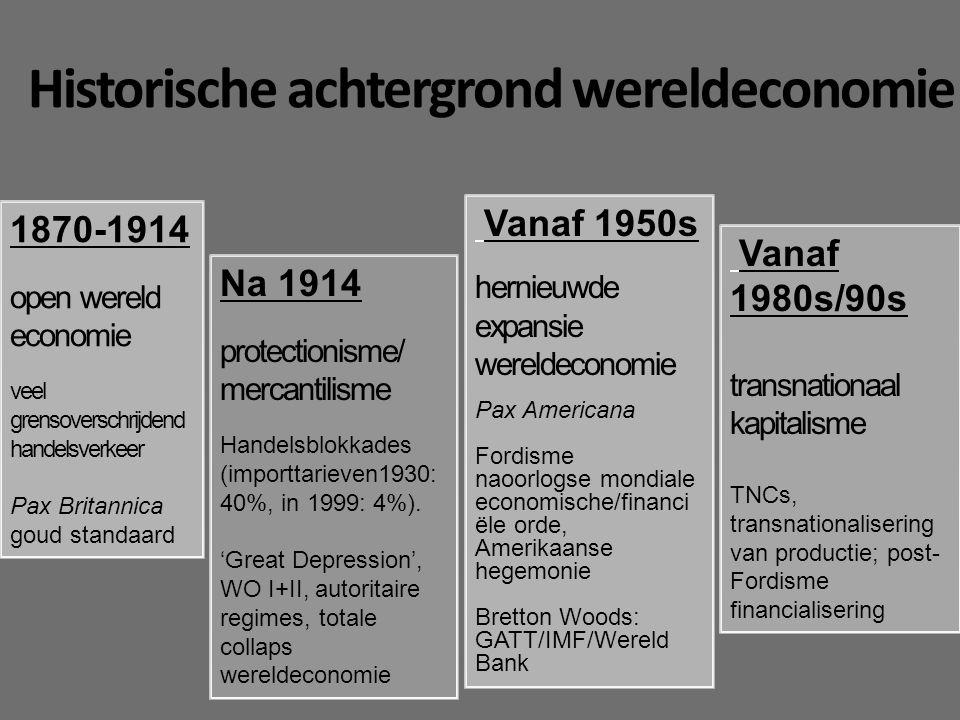 Historische achtergrond wereldeconomie 1870-1914 open wereld economie veel grensoverschrijdend handelsverkeer Pax Britannica goud standaard Na 1914 protectionisme/ mercantilisme Handelsblokkades (importtarieven1930: 40%, in 1999: 4%).