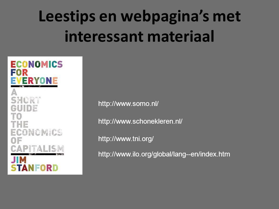 Leestips en webpagina's met interessant materiaal http://www.somo.nl/ http://www.schonekleren.nl/ http://www.tni.org/ http://www.ilo.org/global/lang--en/index.htm