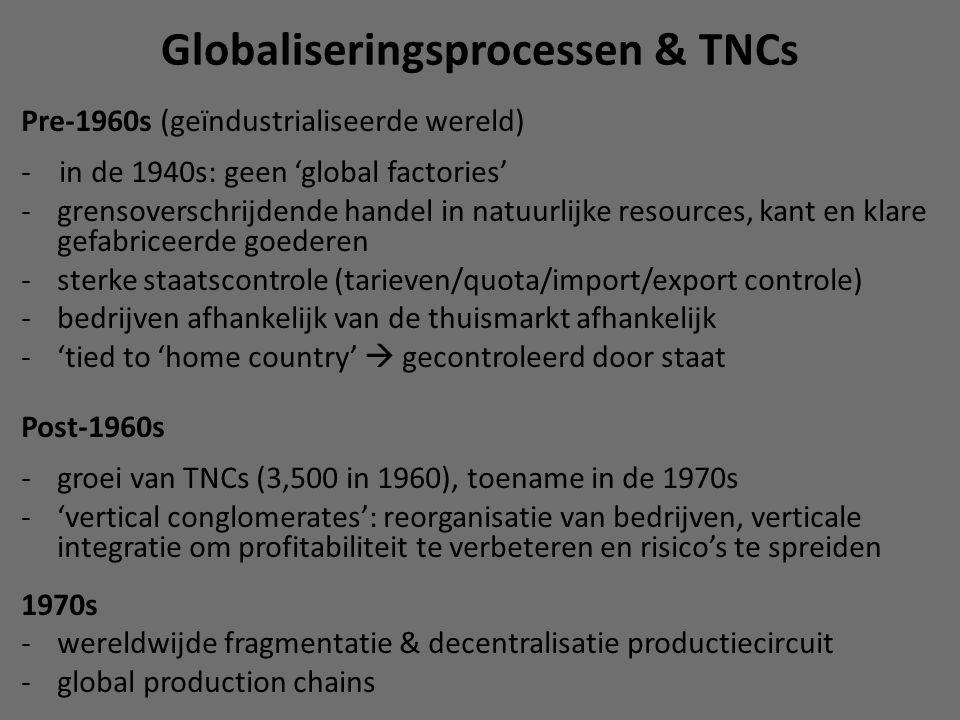 Globaliseringsprocessen & TNCs Pre-1960s (geïndustrialiseerde wereld) - in de 1940s: geen 'global factories' -grensoverschrijdende handel in natuurlijke resources, kant en klare gefabriceerde goederen -sterke staatscontrole (tarieven/quota/import/export controle) -bedrijven afhankelijk van de thuismarkt afhankelijk -'tied to 'home country'  gecontroleerd door staat Post-1960s -groei van TNCs (3,500 in 1960), toename in de 1970s -'vertical conglomerates': reorganisatie van bedrijven, verticale integratie om profitabiliteit te verbeteren en risico's te spreiden 1970s -wereldwijde fragmentatie & decentralisatie productiecircuit -global production chains