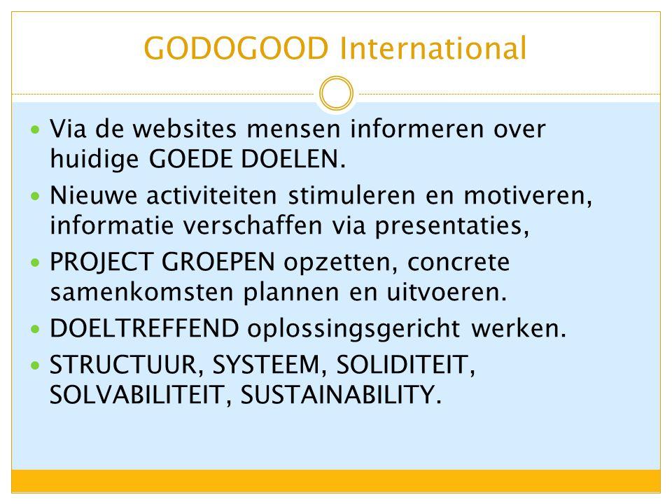 GODOGOOD International Via de websites mensen informeren over huidige GOEDE DOELEN.