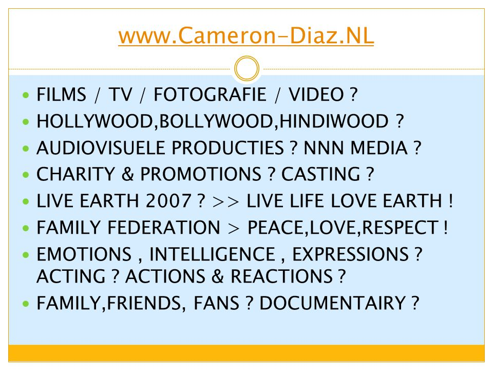www.Cameron-Diaz.NL FILMS / TV / FOTOGRAFIE / VIDEO ? HOLLYWOOD,BOLLYWOOD,HINDIWOOD ? AUDIOVISUELE PRODUCTIES ? NNN MEDIA ? CHARITY & PROMOTIONS ? CAS