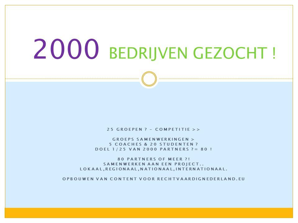 25 GROEPEN . – COMPETITIE >> GROEPS SAMENWERKINGEN > 5 COACHES & 20 STUDENTEN .