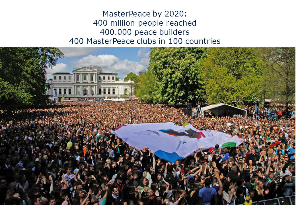 MasterPeace by 2020: 400 million people reached 400.000 peace builders 400 MasterPeace clubs in 100 countries