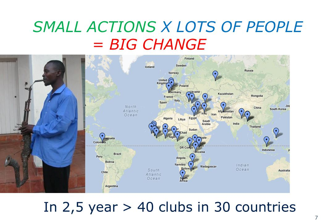 7 SMALL ACTIONS X LOTS OF PEOPLE = BIG CHANGE In 2,5 year > 40 clubs in 30 countries