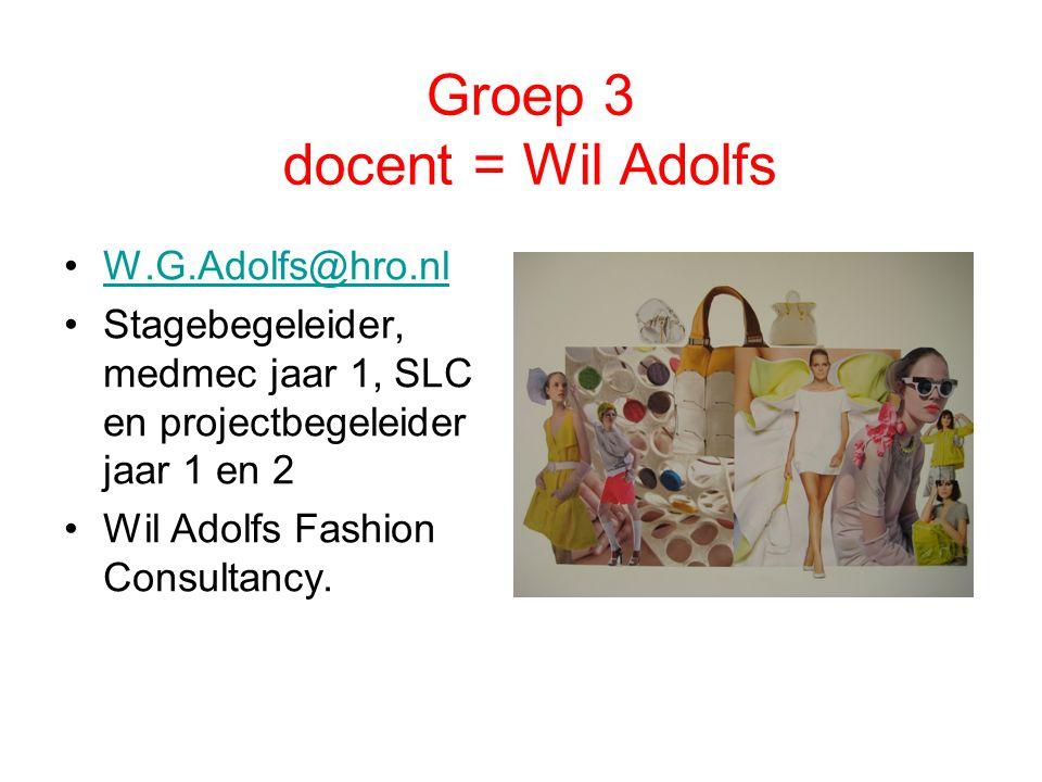Groep 3 docent = Wil Adolfs W.G.Adolfs@hro.nl Stagebegeleider, medmec jaar 1, SLC en projectbegeleider jaar 1 en 2 Wil Adolfs Fashion Consultancy.