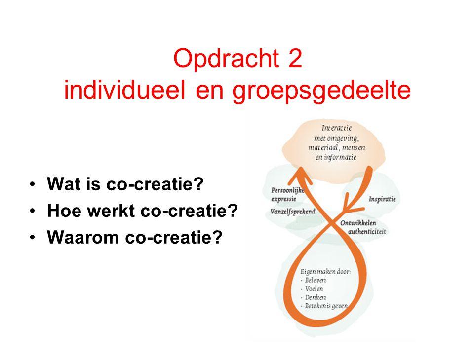Opdracht 2 individueel en groepsgedeelte Wat is co-creatie.