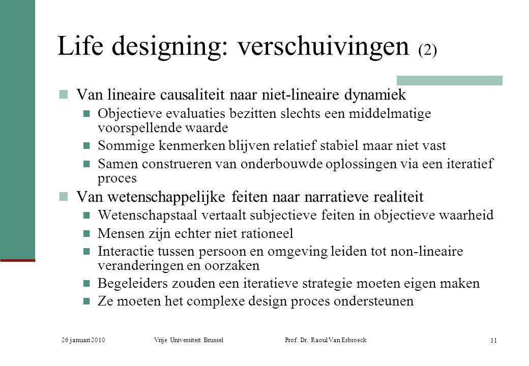 26 januari 2010Vrije Universiteit Brussel Prof. Dr. Raoul Van Esbroeck 11 Life designing: verschuivingen (2) Van lineaire causaliteit naar niet-lineai