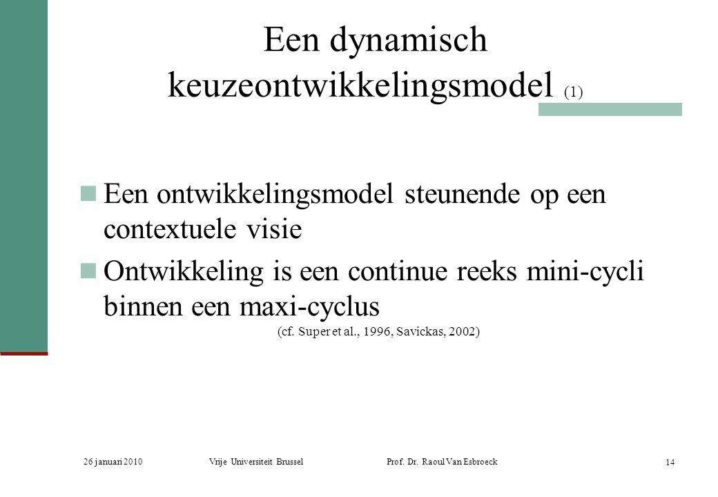 26 januari 2010Vrije Universiteit Brussel Prof. Dr. Raoul Van Esbroeck 14 Een dynamisch keuzeontwikkelingsmodel (1) Een ontwikkelingsmodel steunende o