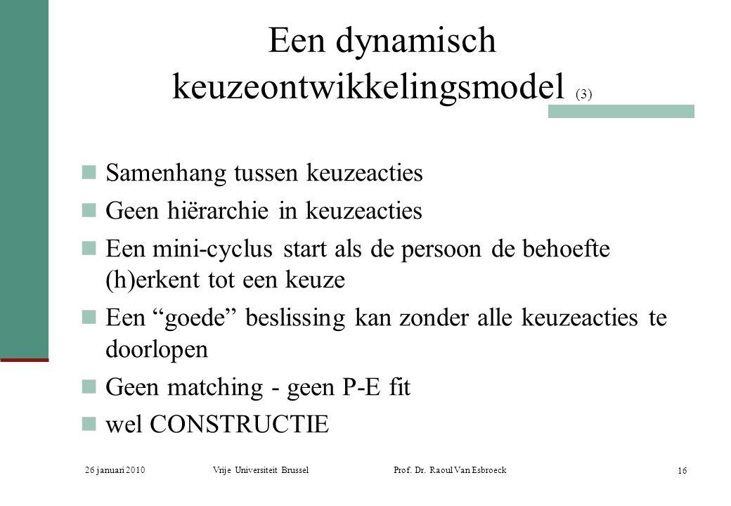 26 januari 2010Vrije Universiteit Brussel Prof. Dr. Raoul Van Esbroeck 16 Een dynamisch keuzeontwikkelingsmodel (3) Samenhang tussen keuzeacties Geen