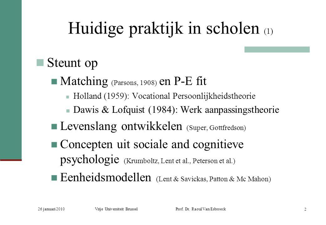26 januari 2010Vrije Universiteit Brussel Prof. Dr. Raoul Van Esbroeck 2 Huidige praktijk in scholen (1) Steunt op Matching (Parsons, 1908) en P-E fit