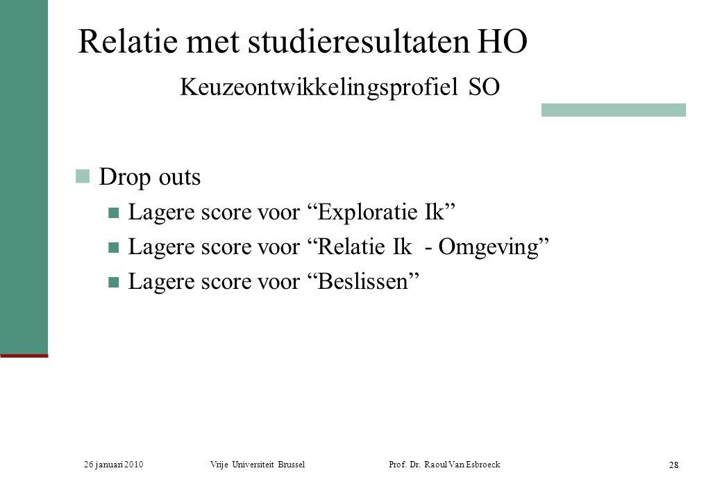 26 januari 2010Vrije Universiteit Brussel Prof. Dr. Raoul Van Esbroeck 28 Relatie met studieresultaten HO Keuzeontwikkelingsprofiel SO Drop outs Lager