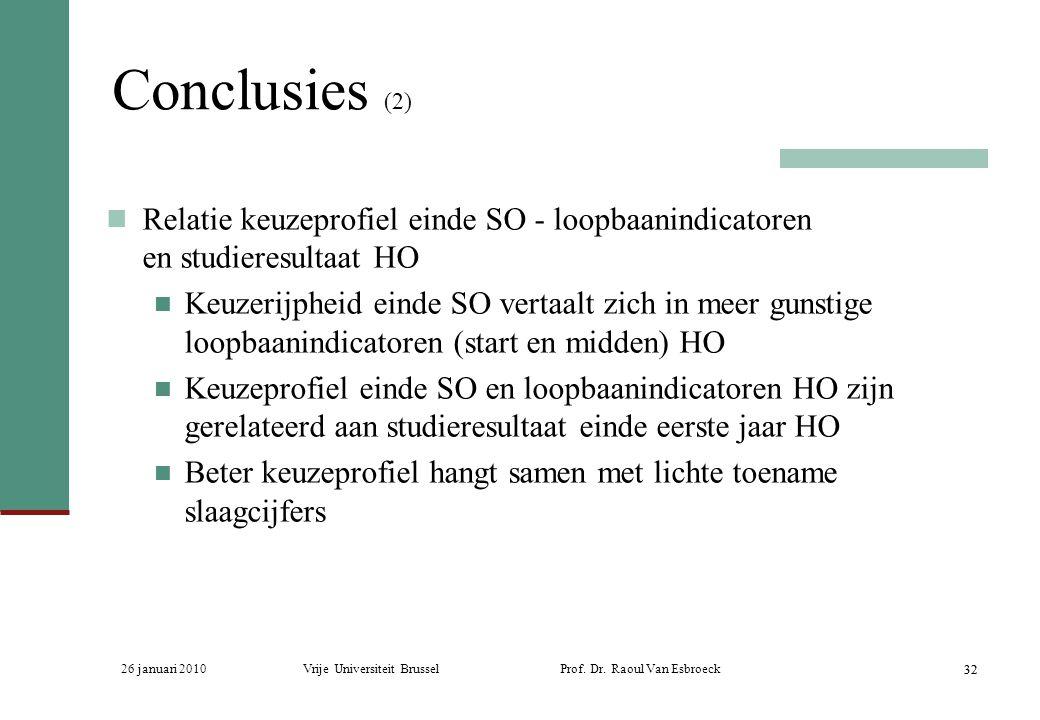 26 januari 2010Vrije Universiteit Brussel Prof. Dr. Raoul Van Esbroeck 32 Conclusies (2) Relatie keuzeprofiel einde SO - loopbaanindicatoren en studie