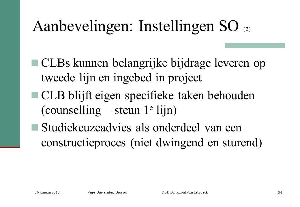 26 januari 2010Vrije Universiteit Brussel Prof. Dr. Raoul Van Esbroeck 34 Aanbevelingen: Instellingen SO (2) CLBs kunnen belangrijke bijdrage leveren