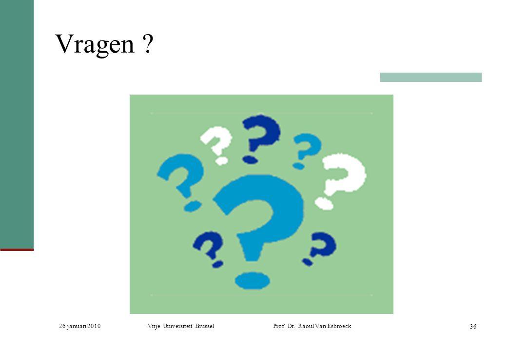 26 januari 2010Vrije Universiteit Brussel Prof. Dr. Raoul Van Esbroeck 36 Vragen ?