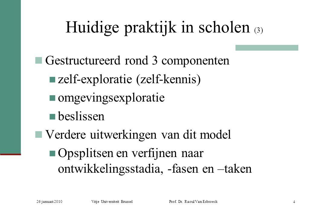 26 januari 2010Vrije Universiteit Brussel Prof. Dr. Raoul Van Esbroeck 4 Huidige praktijk in scholen (3) Gestructureerd rond 3 componenten zelf-explor