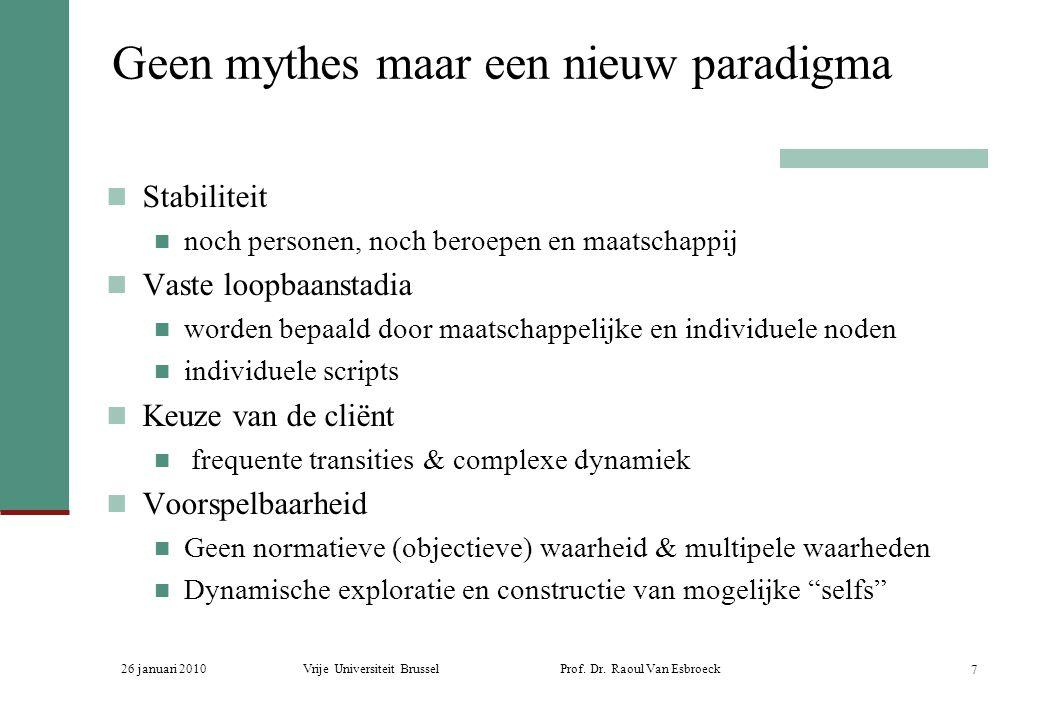 26 januari 2010Vrije Universiteit Brussel Prof. Dr. Raoul Van Esbroeck 7 Geen mythes maar een nieuw paradigma Stabiliteit noch personen, noch beroepen