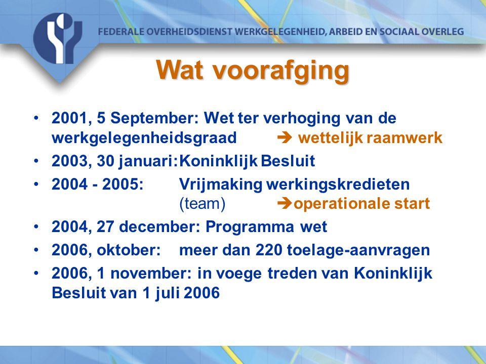 Wat voorafging Wat voorafging 2001, 5 September: Wet ter verhoging van de werkgelegenheidsgraad  wettelijk raamwerk 2003, 30 januari:Koninklijk Besluit 2004 - 2005:Vrijmaking werkingskredieten (team)  operationale start 2004, 27 december: Programma wet 2006, oktober: meer dan 220 toelage-aanvragen 2006, 1 november: in voege treden van Koninklijk Besluit van 1 juli 2006
