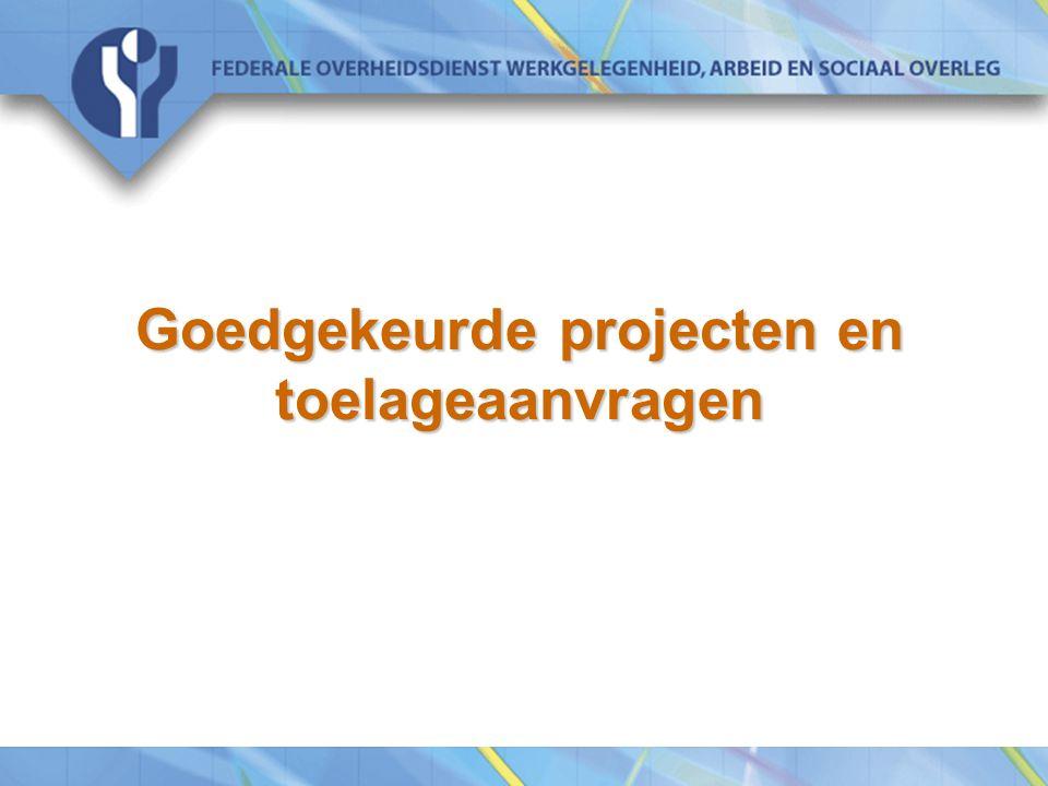 Goedgekeurde projecten en toelageaanvragen