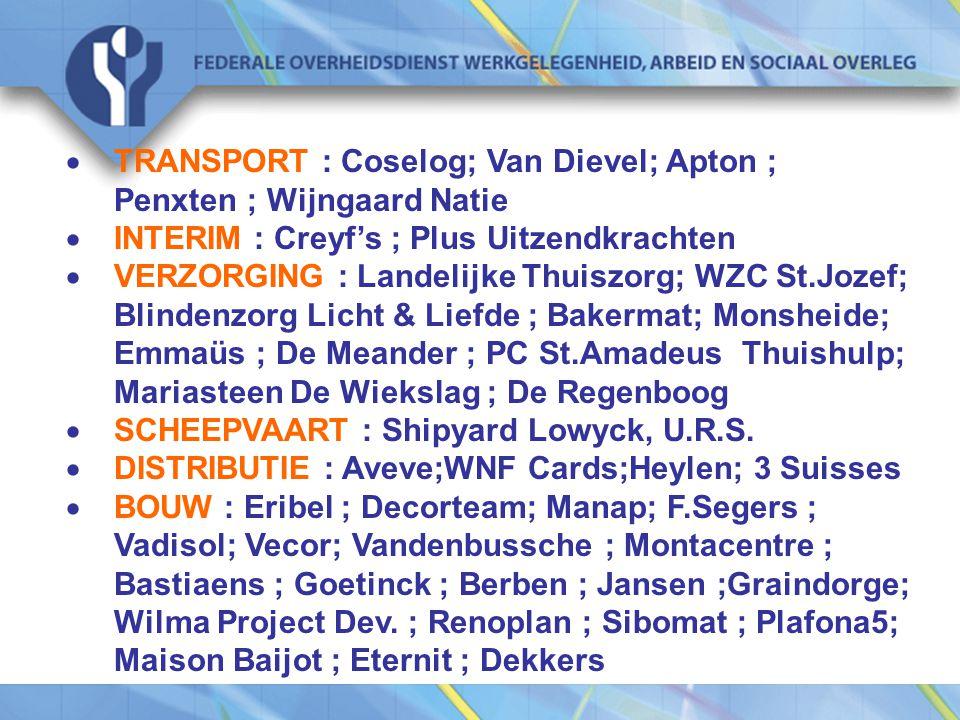  TRANSPORT : Coselog; Van Dievel; Apton ; Penxten ; Wijngaard Natie  INTERIM : Creyf's ; Plus Uitzendkrachten  VERZORGING : Landelijke Thuiszorg; WZC St.Jozef; Blindenzorg Licht & Liefde ; Bakermat; Monsheide; Emmaüs ; De Meander ; PC St.Amadeus Thuishulp; Mariasteen De Wiekslag ; De Regenboog  SCHEEPVAART : Shipyard Lowyck, U.R.S.