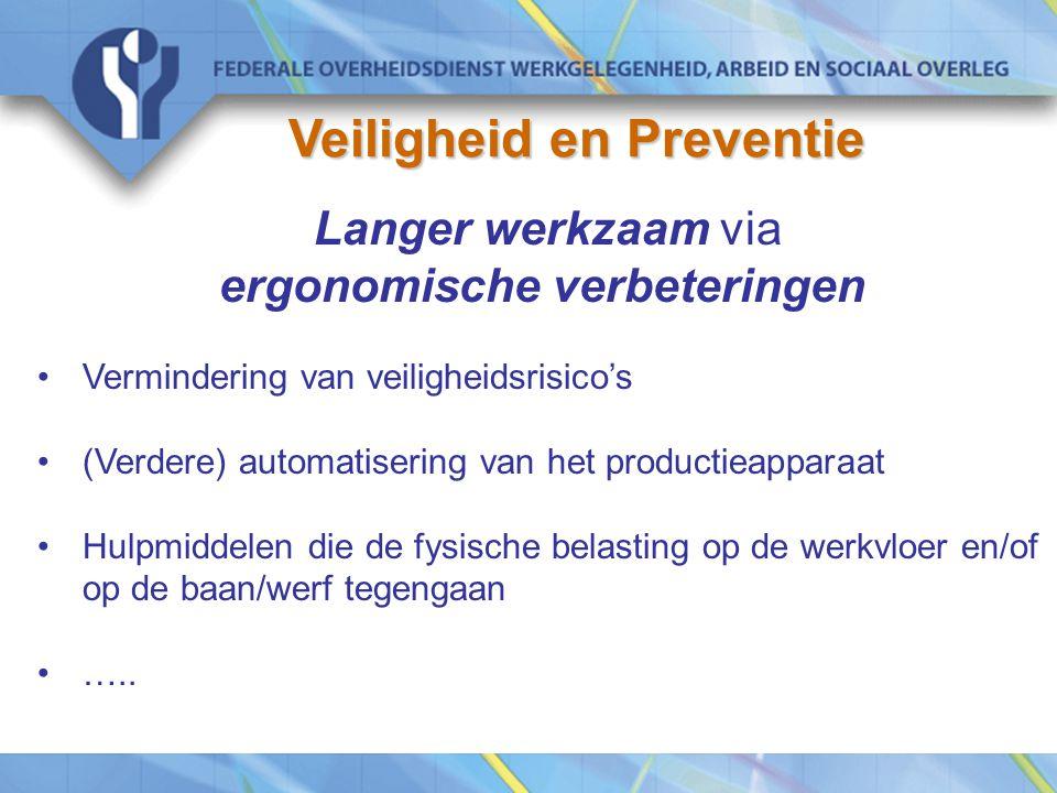 Langer werkzaam via ergonomische verbeteringen Vermindering van veiligheidsrisico's (Verdere) automatisering van het productieapparaat Hulpmiddelen die de fysische belasting op de werkvloer en/of op de baan/werf tegengaan …..