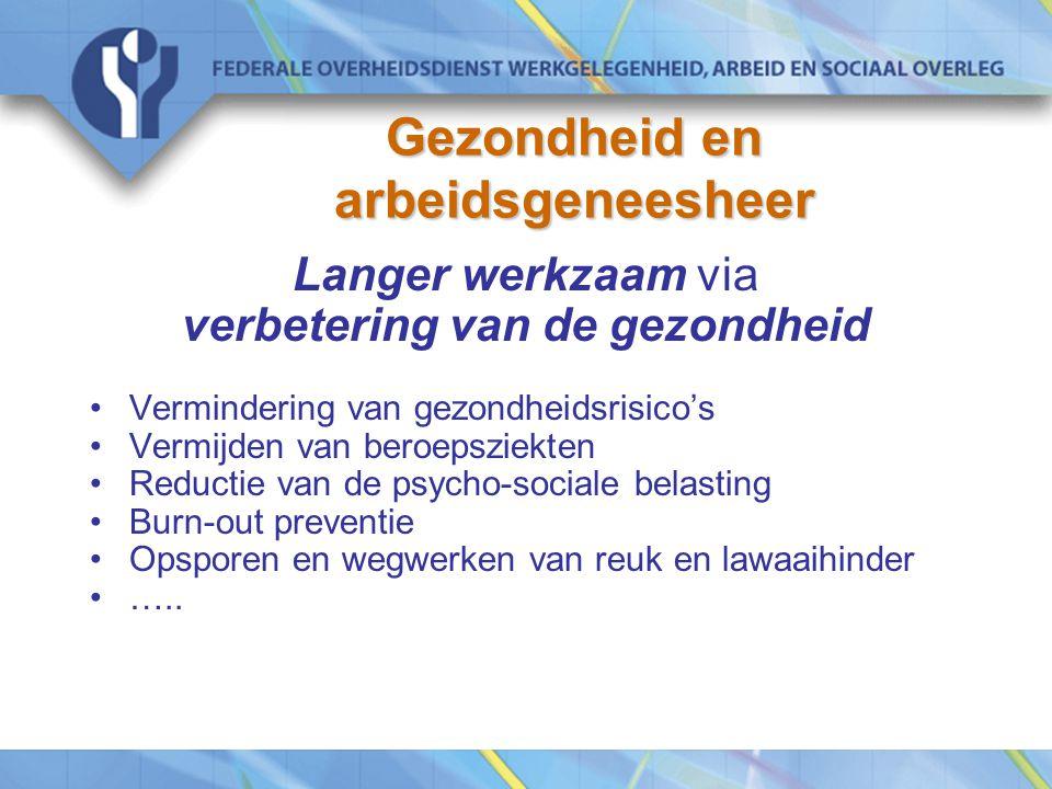 Gezondheid en arbeidsgeneesheer Langer werkzaam via verbetering van de gezondheid Vermindering van gezondheidsrisico's Vermijden van beroepsziekten Reductie van de psycho-sociale belasting Burn-out preventie Opsporen en wegwerken van reuk en lawaaihinder …..