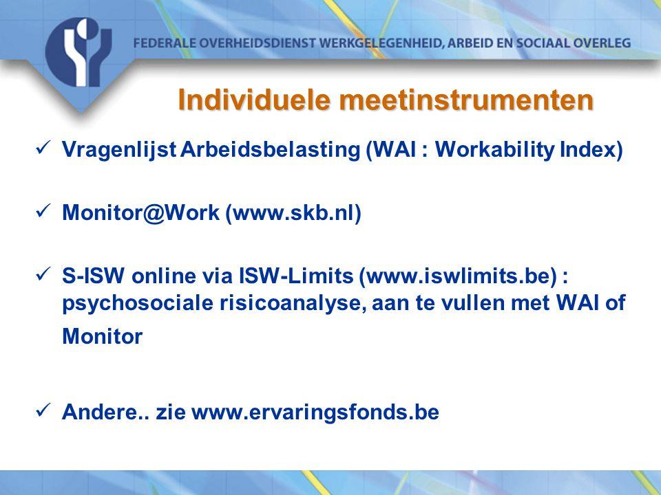 Individuele meetinstrumenten Vragenlijst Arbeidsbelasting (WAI : Workability Index) Monitor@Work (www.skb.nl) S-ISW online via ISW-Limits (www.iswlimits.be) : psychosociale risicoanalyse, aan te vullen met WAI of Monitor Andere..