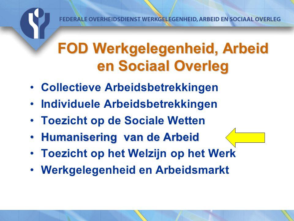 FOD Werkgelegenheid, Arbeid en Sociaal Overleg Collectieve Arbeidsbetrekkingen Individuele Arbeidsbetrekkingen Toezicht op de Sociale Wetten Humanisering van de ArbeidHumanisering van de Arbeid Toezicht op het Welzijn op het Werk Werkgelegenheid en Arbeidsmarkt