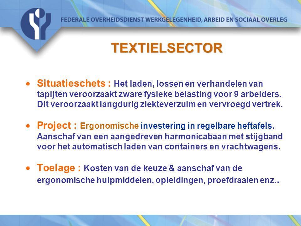 TEXTIELSECTOR  Situatieschets : Het laden, lossen en verhandelen van tapijten veroorzaakt zware fysieke belasting voor 9 arbeiders.
