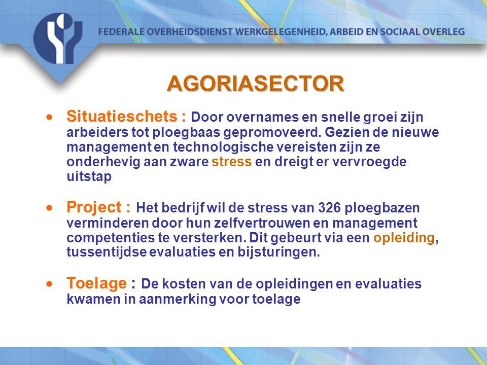 AGORIASECTOR  Situatieschets : Door overnames en snelle groei zijn arbeiders tot ploegbaas gepromoveerd.