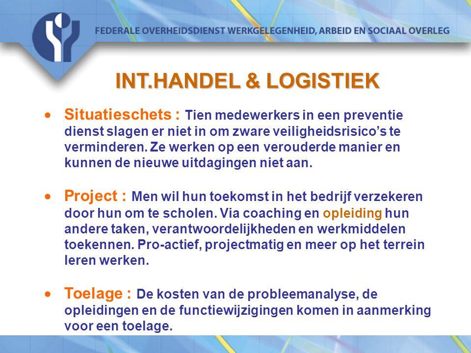 INT.HANDEL & LOGISTIEK  Situatieschets : Tien medewerkers in een preventie dienst slagen er niet in om zware veiligheidsrisico's te verminderen.