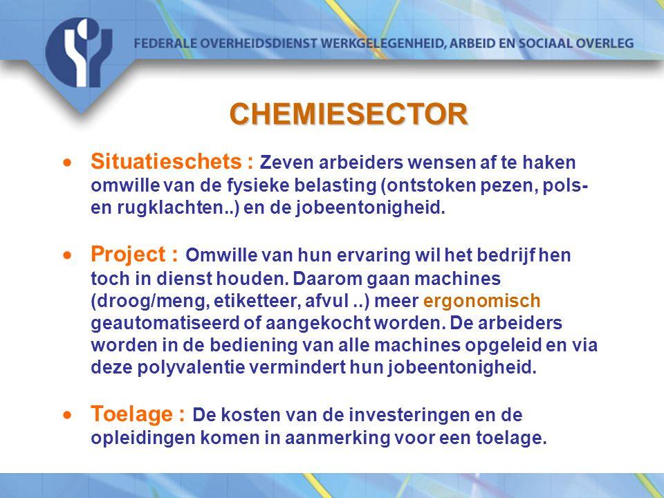 CHEMIESECTOR  Situatieschets : Zeven arbeiders wensen af te haken omwille van de fysieke belasting (ontstoken pezen, pols- en rugklachten..) en de jobeentonigheid.