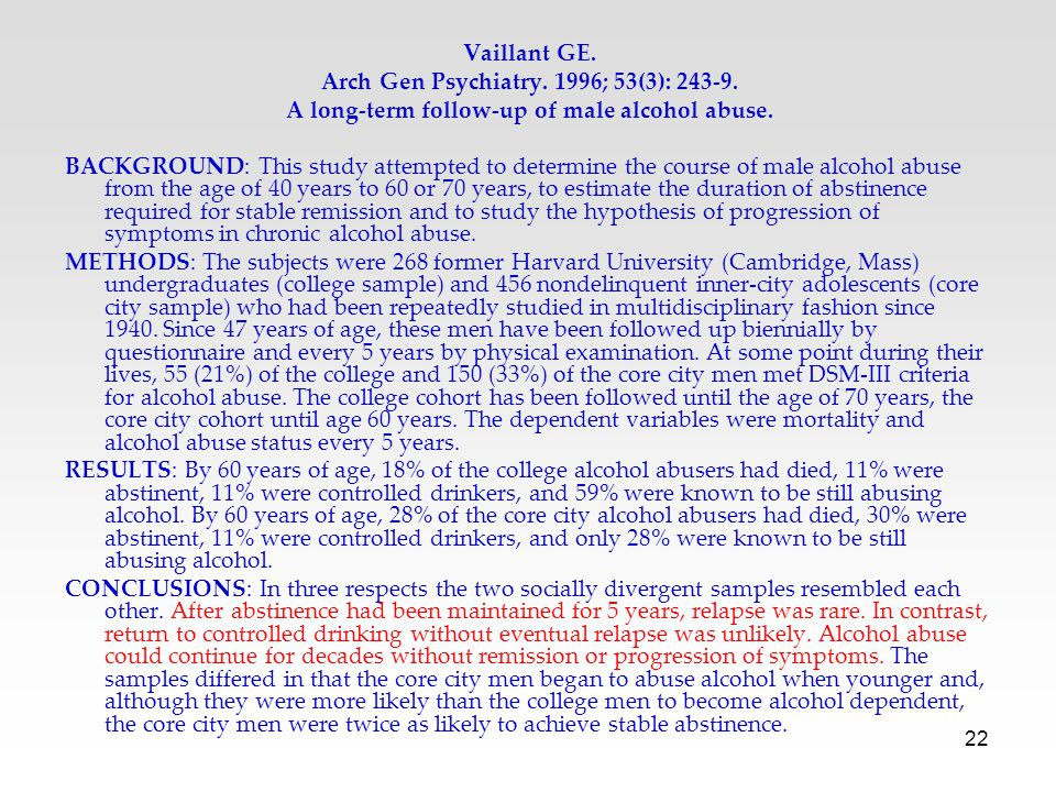 22 Vaillant GE. Arch Gen Psychiatry. 1996; 53(3): 243-9. A long-term follow-up of male alcohol abuse. BACKGROUND: This study attempted to determine th