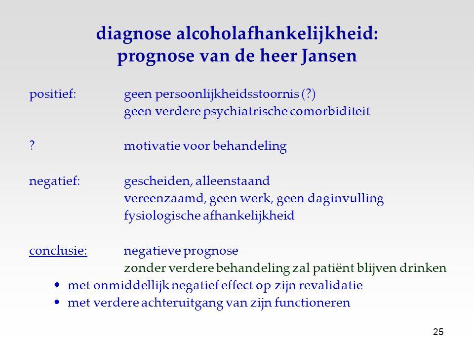 25 diagnose alcoholafhankelijkheid: prognose van de heer Jansen positief: geen persoonlijkheidsstoornis (?) geen verdere psychiatrische comorbiditeit