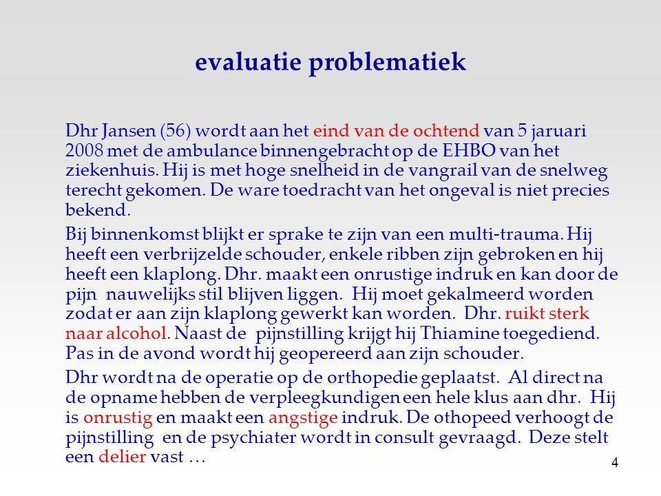 4 evaluatie problematiek Dhr Jansen (56) wordt aan het eind van de ochtend van 5 jaruari 2008 met de ambulance binnengebracht op de EHBO van het zieke