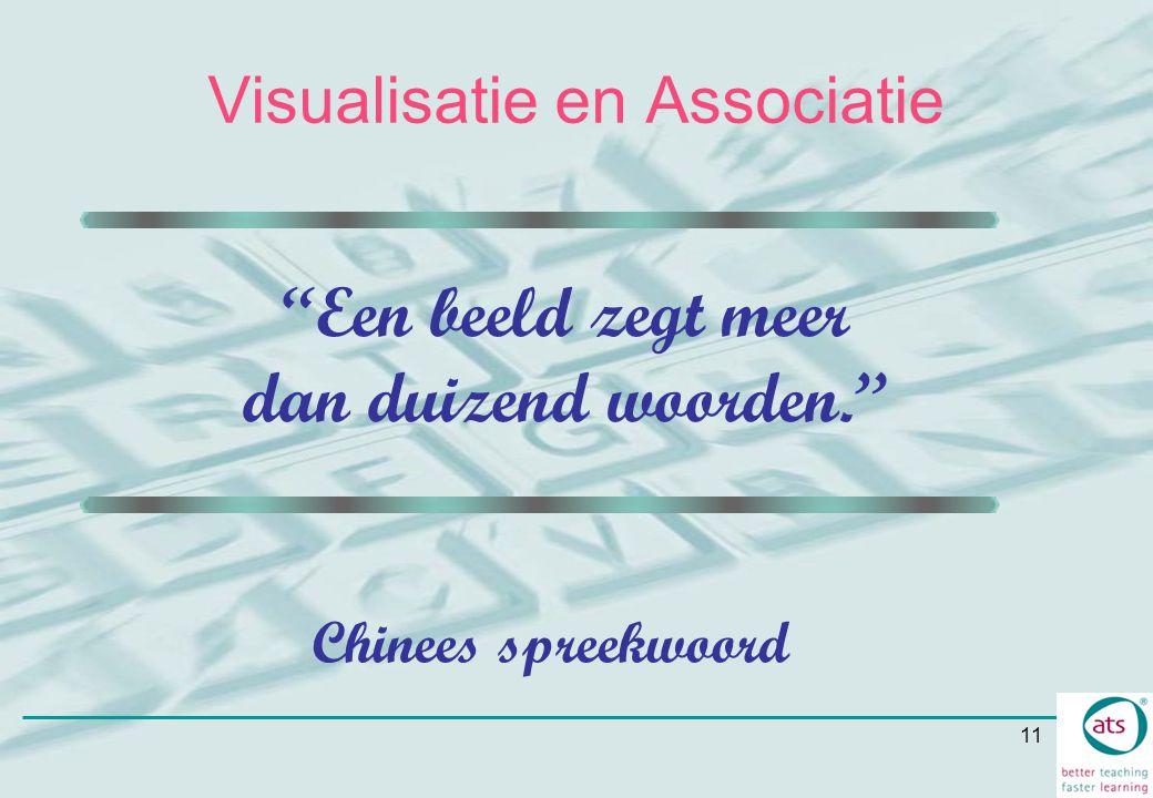 """11 """"Een beeld zegt meer dan duizend woorden."""" Chinees spreekwoord Visualisatie en Associatie"""
