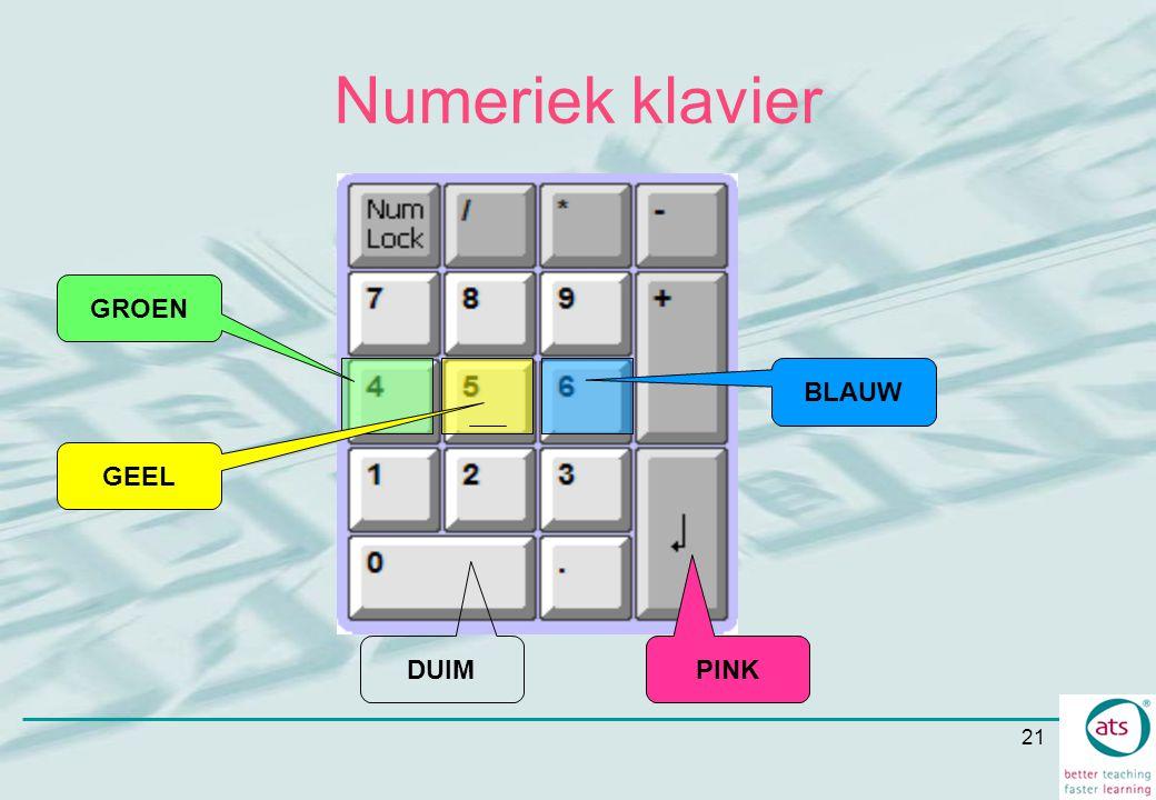 21 Numeriek klavier DUIM PINK GROEN GEEL BLAUW