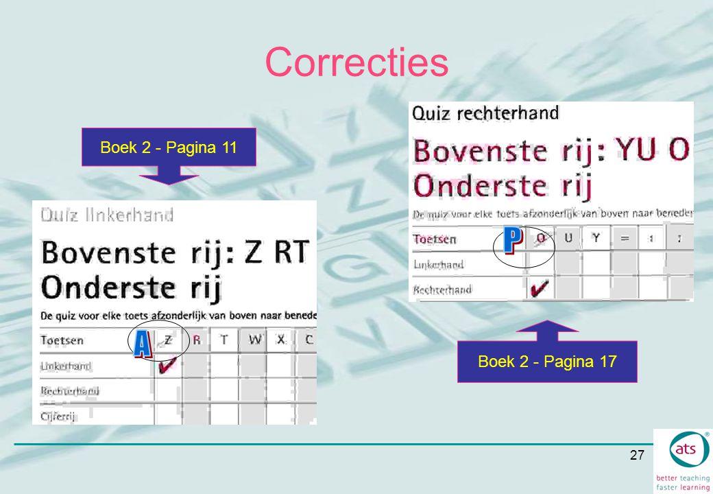 27 Correcties Boek 2 - Pagina 17 Boek 2 - Pagina 11