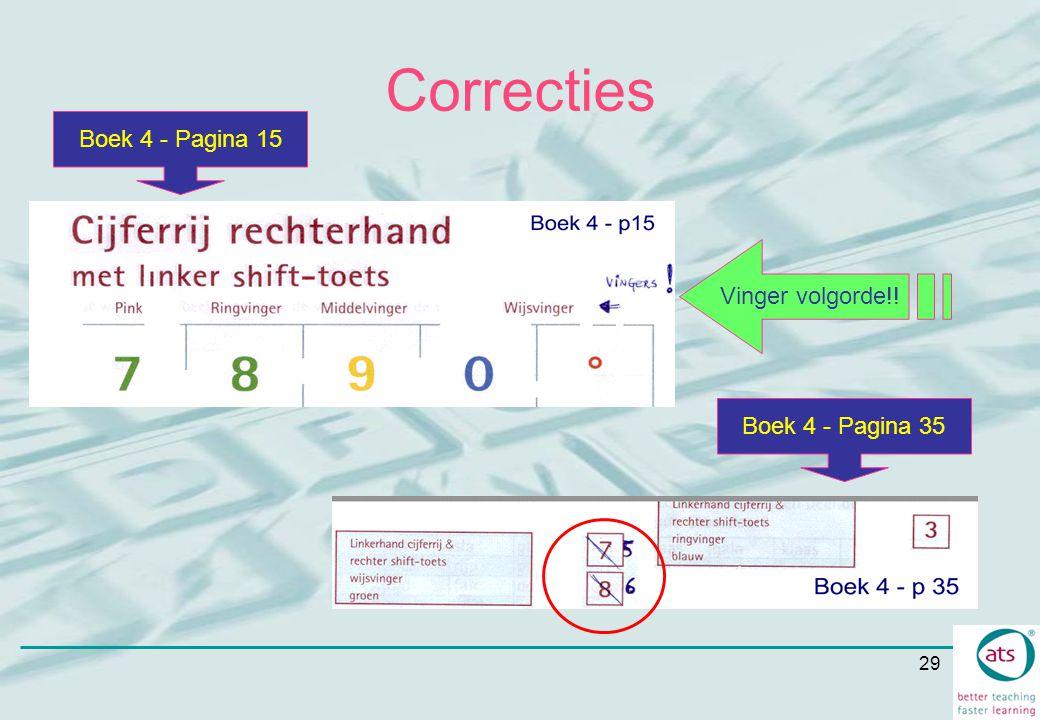 29 Correcties Boek 4 - Pagina 15 Boek 4 - Pagina 35 Vinger volgorde!!
