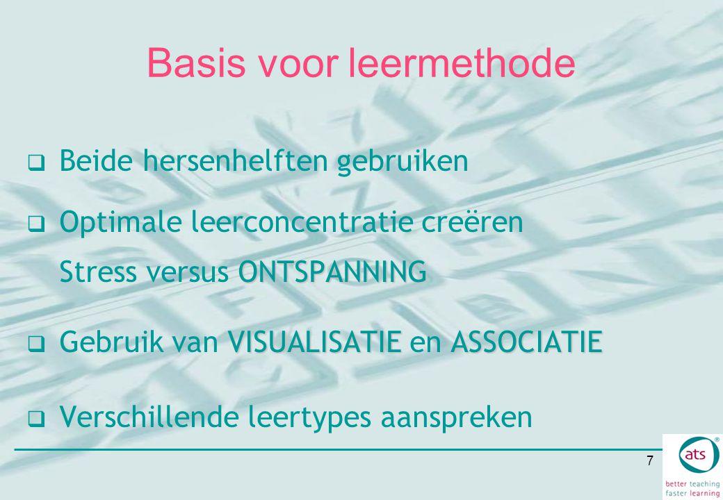 7 Basis voor leermethode  Beide hersenhelften gebruiken ONTSPANNING  Optimale leerconcentratie creëren Stress versus ONTSPANNING VISUALISATIEASSOCIA