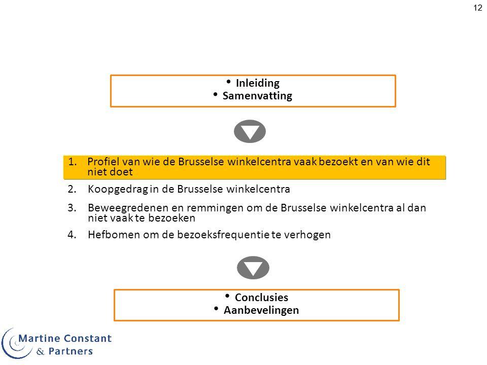 12 1.Profiel van wie de Brusselse winkelcentra vaak bezoekt en van wie dit niet doet Inleiding Samenvatting 3.Beweegredenen en remmingen om de Brusselse winkelcentra al dan niet vaak te bezoeken 4.Hefbomen om de bezoeksfrequentie te verhogen Conclusies Aanbevelingen 2.Koopgedrag in de Brusselse winkelcentra