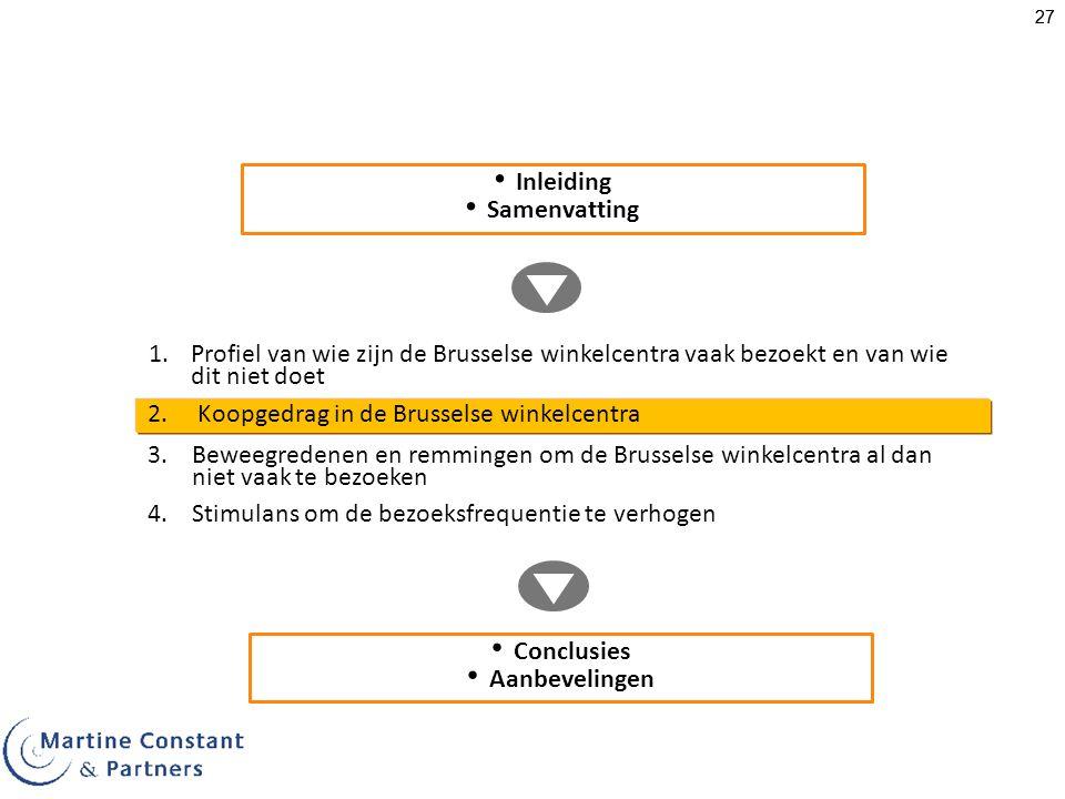 27 1.Profiel van wie zijn de Brusselse winkelcentra vaak bezoekt en van wie dit niet doet Inleiding Samenvatting 3.Beweegredenen en remmingen om de Br