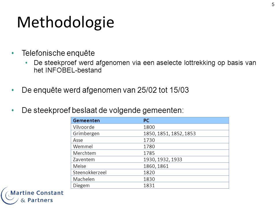 55 Methodologie Telefonische enquête De steekproef werd afgenomen via een aselecte lottrekking op basis van het INFOBEL-bestand De enquête werd afgeno