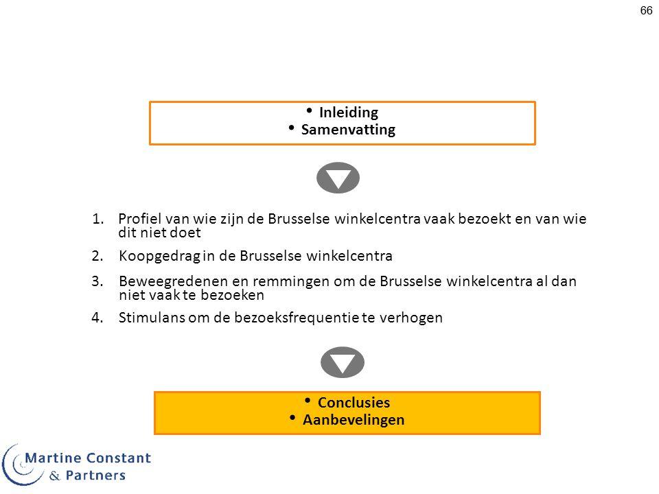 66 1.Profiel van wie zijn de Brusselse winkelcentra vaak bezoekt en van wie dit niet doet Inleiding Samenvatting 3.Beweegredenen en remmingen om de Brusselse winkelcentra al dan niet vaak te bezoeken 4.Stimulans om de bezoeksfrequentie te verhogen Conclusies Aanbevelingen 2.Koopgedrag in de Brusselse winkelcentra