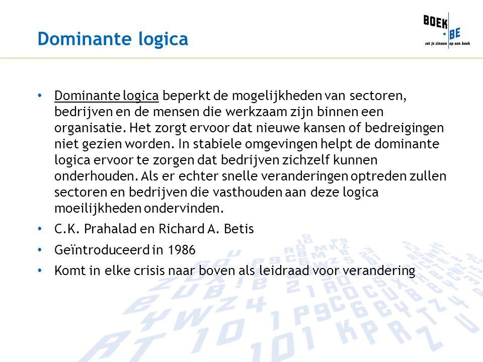 Dominante logica Dominante logica beperkt de mogelijkheden van sectoren, bedrijven en de mensen die werkzaam zijn binnen een organisatie. Het zorgt er
