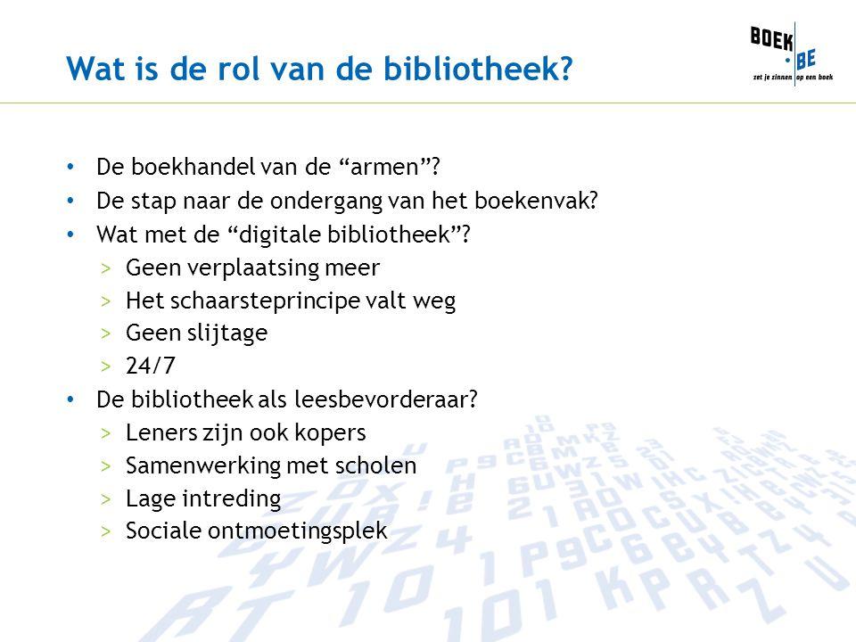 """Wat is de rol van de bibliotheek? De boekhandel van de """"armen""""? De stap naar de ondergang van het boekenvak? Wat met de """"digitale bibliotheek""""? >Geen"""