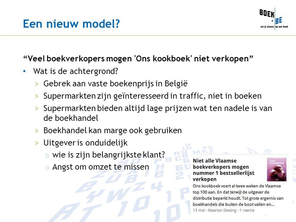 """Een nieuw model? """"Veel boekverkopers mogen 'Ons kookboek' niet verkopen"""" Wat is de achtergrond? >Gebrek aan vaste boekenprijs in België >Supermarkten"""